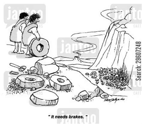 funny cartoons caveman wheel inventions cartoons humor from jantoo cartoons