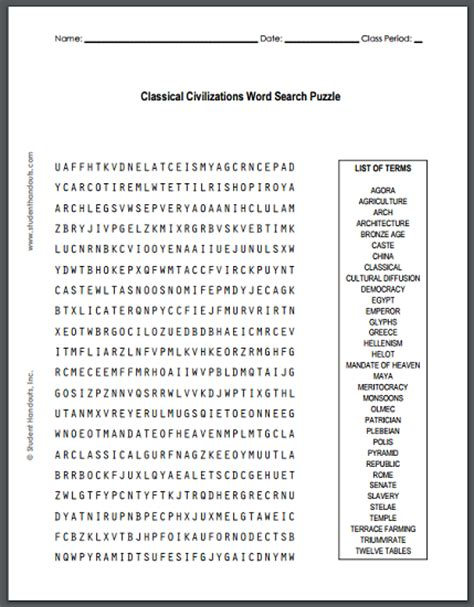 Search Free Age Classical Civilizations Word Search Puzzle Free To Print