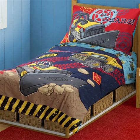 construction toddler bed 4pc tonka trucks construction toddler bedding set