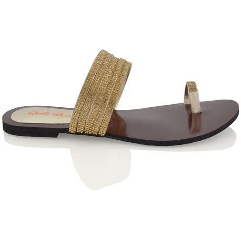Sandal Flat Serut 3 Warna womens flat toe post diamante strappy sandal slip on sparkly shoes size ebay