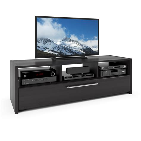 tv bench wood corliving naples tv component bench in wood grain black