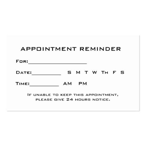 appointment reminder template appointment card templates free search results