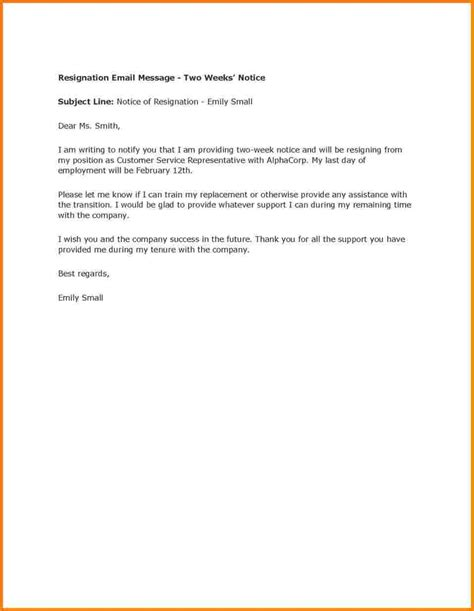 Resignation Letter Two Weeks Notice Sles 7 Exle Of Two Week Notice Weekly Agenda Planner