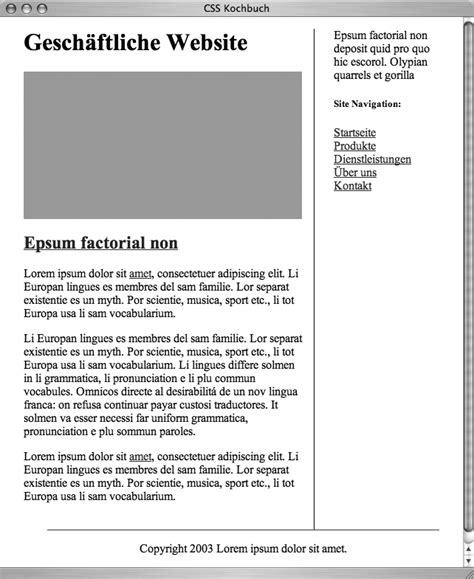 Zweispaltiges Layout Css | data2type gmbh css kochbuch zweispaltige layouts