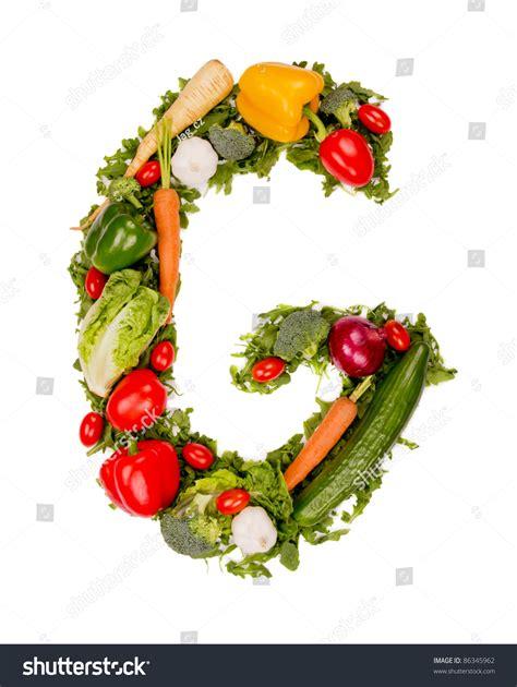 g vegetables vegetable alphabet letter quot g quot stock photo 86345962