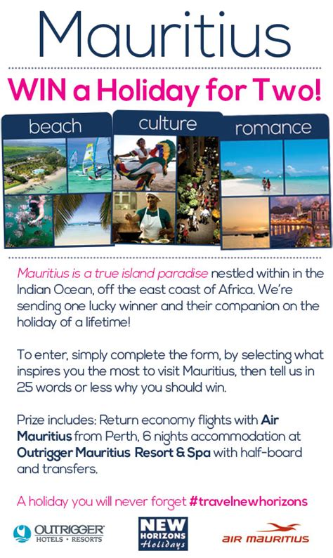 Instant Win Competitions Australia - new horizons holidays win a mauritius holiday western aus australian