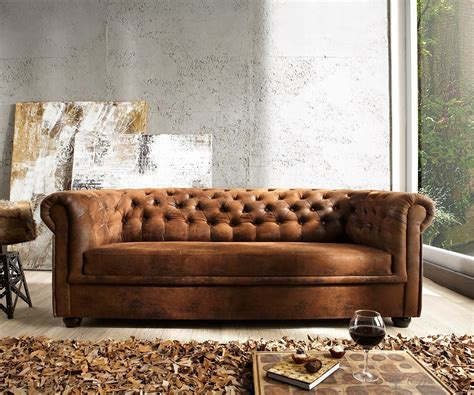 3 on a couch sofa chesterfield 200x90 braun antik optik 3 sitzer couch
