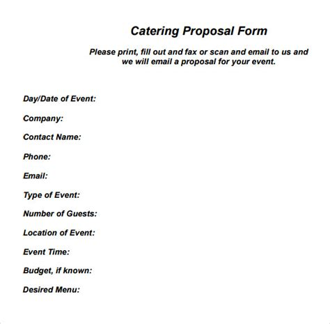 6 Catering Proposal Sles Sle Templates Catering Rfp Template