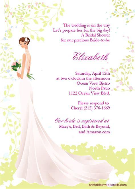 printable bridal shower invitation kits bridal shower invitations printable bridal shower