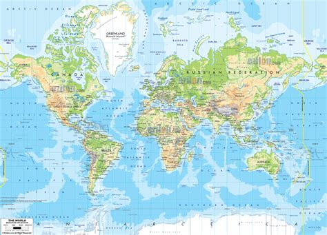 map of the world world physical map ezilon maps