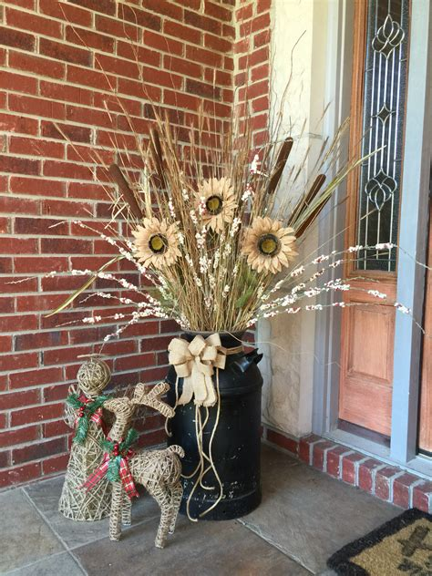 Decorating Ideas Milk Cans Milk Can Front Porch Decor Sunflowers Fall