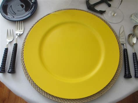 yellow plate chargers table for one sea santa table