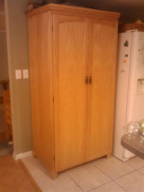 High Dark Wood Stand Alone Cabinets Pantries For Green