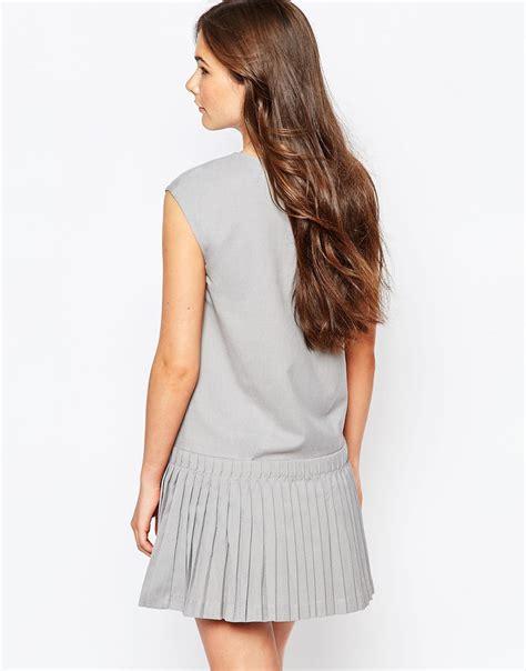 Zarazephyros Grey Dropped Waist Dress see u soon dress with drop waist pleated skirt in gray lyst