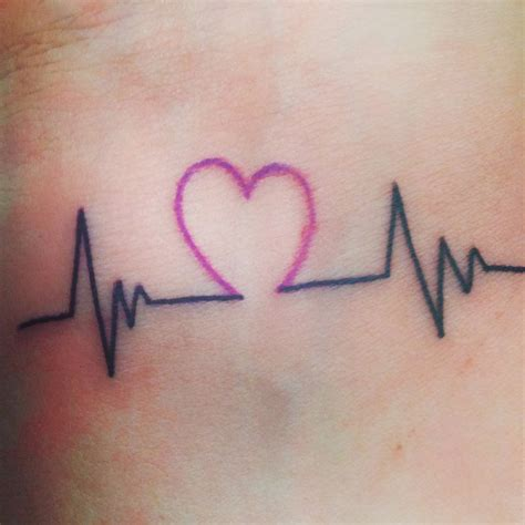 heart with heartbeat tattoo 45 wrist tattoos golfian