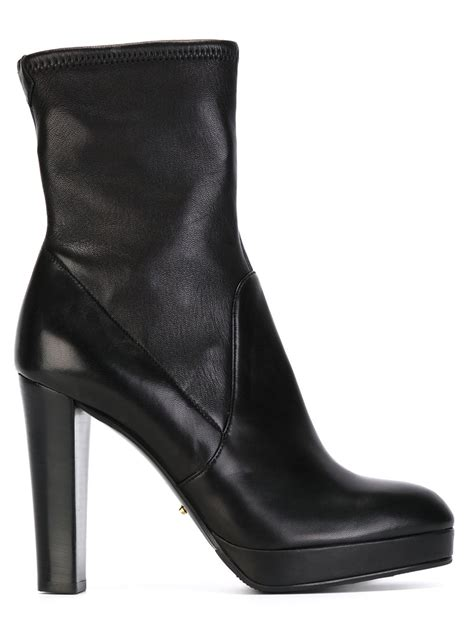 sergio chunky heel boots in black lyst
