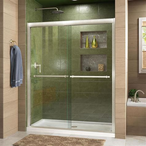 Sliding Glass Shower Doors Lowes Shop Dreamline Duet 44 In To 48 In W Frameless Brushed Nickel Sliding Shower Door At Lowes