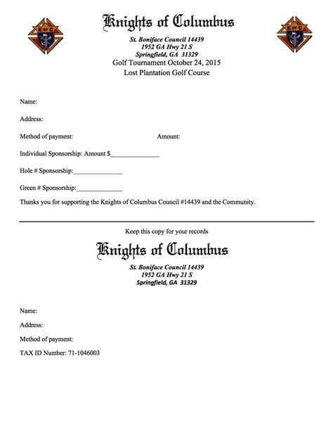 Knights Of Columbus Membership Card Template by Sponsor Sheet For Golf Image Collections Cv