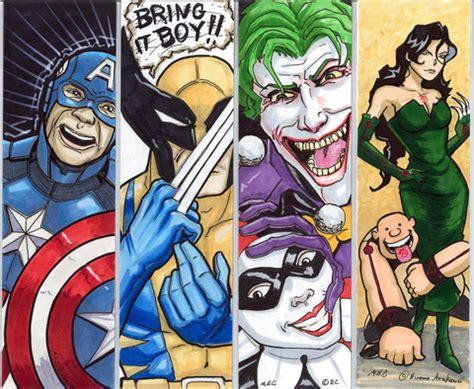 printable bookmarks marvel captain america wolverine joker and harley quinn