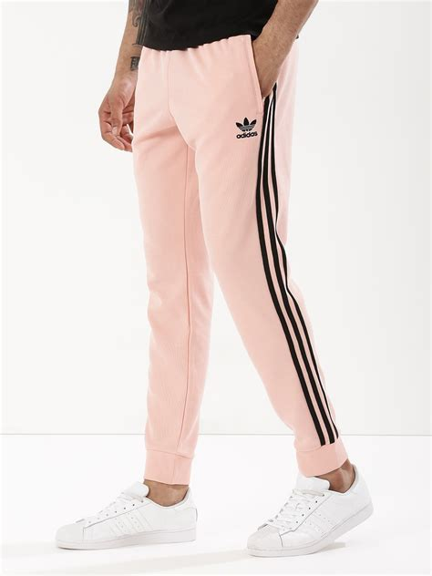 buy adidas originals pink side striped cuffed joggers