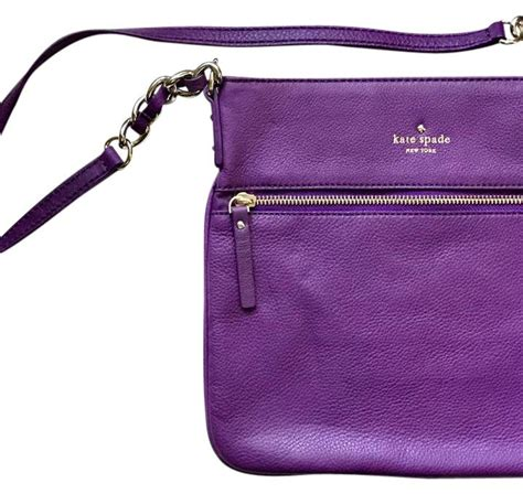 Katespade Ksw1122 White Leather Gold kate spade purple with gold hardware and black and white striped lining soft pebbled leather