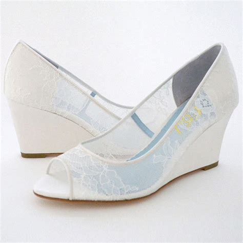 Lace Wedge Pumps white wedding shoes peep toe lace heels wedge pumps for