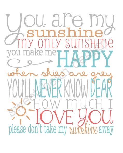 summer c song you are my sunshine with lyrics and you are my sunshine lyrics art print music pinterest