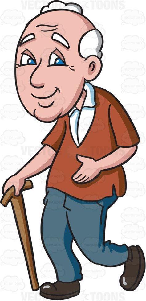 granpa cartoon film video a grandpa walking happily sticks vector illustrations