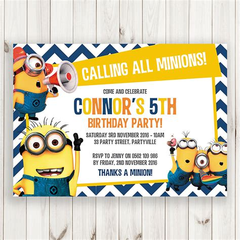 minion birthday card template invitation template minions gallery invitation sle