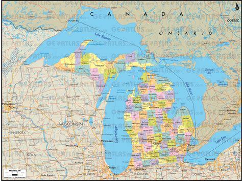 michigan canada map geoatlas united states canada michigan map city
