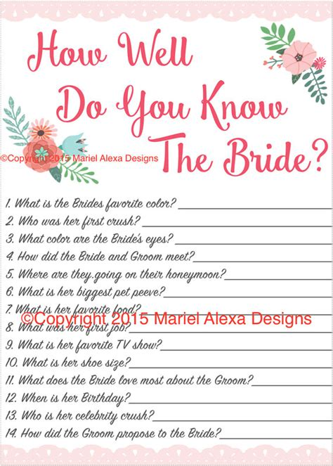 wedding themed quiz questions bridal shower game how well do you know the bride fun