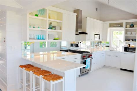 white cottage kitchen beautifully seaside formerly chic coastal living nantucket cottage