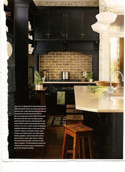 How To Remodel Old Kitchen Cabinets Black Cabinets And Brick Backsplash Kitchen Pinterest