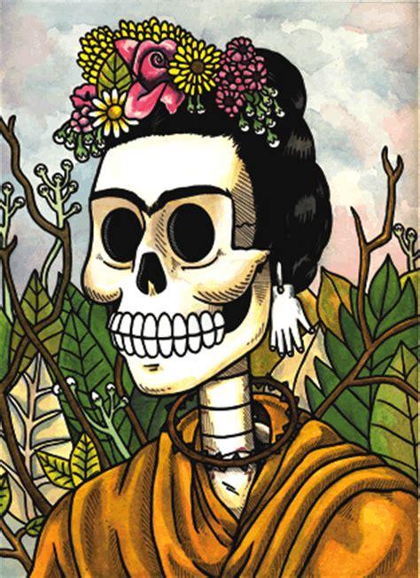 imagenes de calavera frida kahlo frida calavera w flowers pen ink and watercolor on