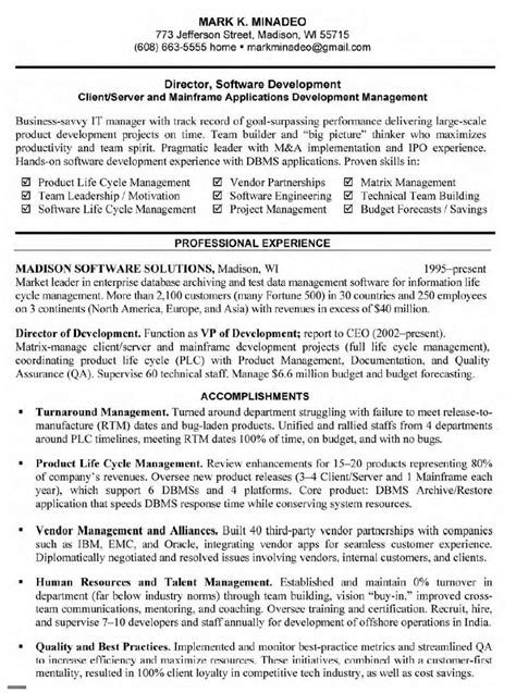 Sle Resume For Experienced Senior Software Engineer Software Developer Resume Sle Resume 28 Images
