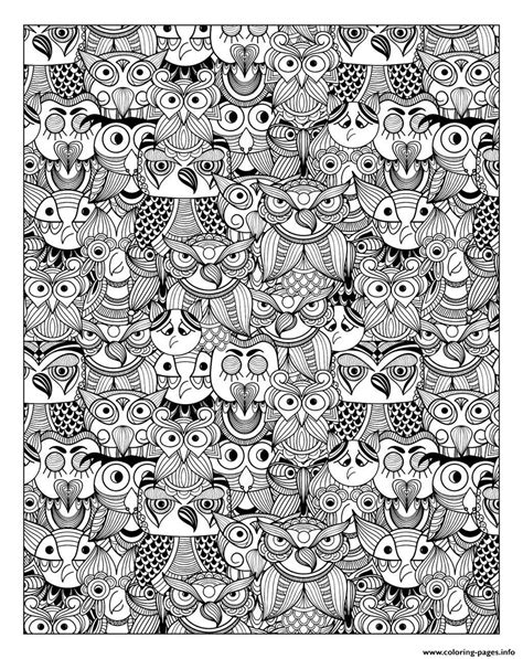 adult owls coloring pages printable