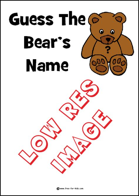 printable sheets for guess the bear s name competitions