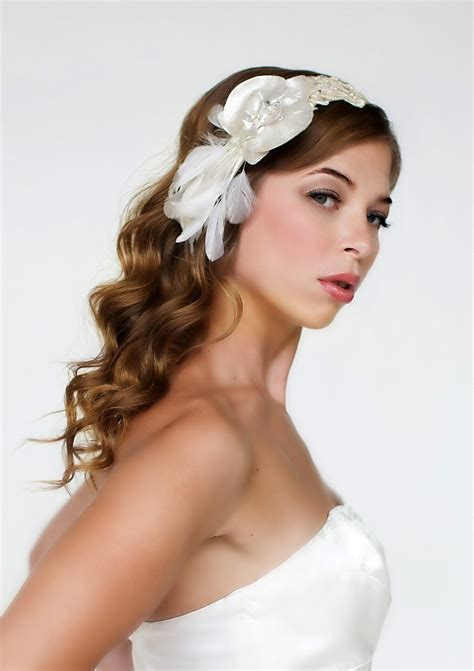 Wedding Hair Cocoa by Chic And Ivory Satin And Feather Bridal Headband