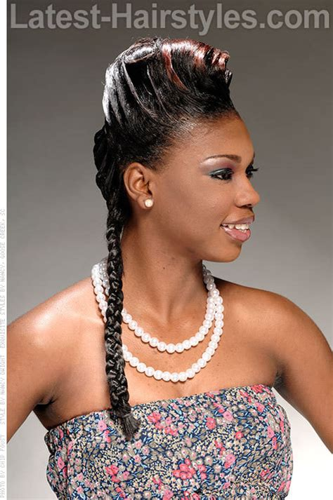 hairstyle with rolls overlaps and braids single braid hairstyle with double french roll side view