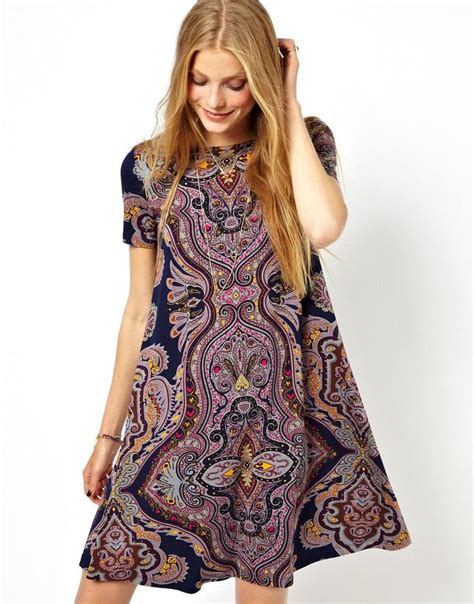paisley swing dress swing dress with short sleeves in paisley placement print