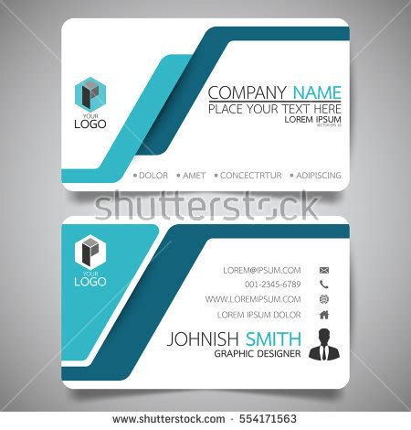 card name template vector blue modern creative business card name stock vector