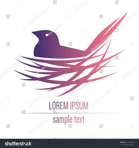 logo with a bird in a nest stock vector illustration