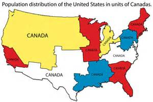 Map Of The Usa And Canada by Population Distribution Of The United States Measured In