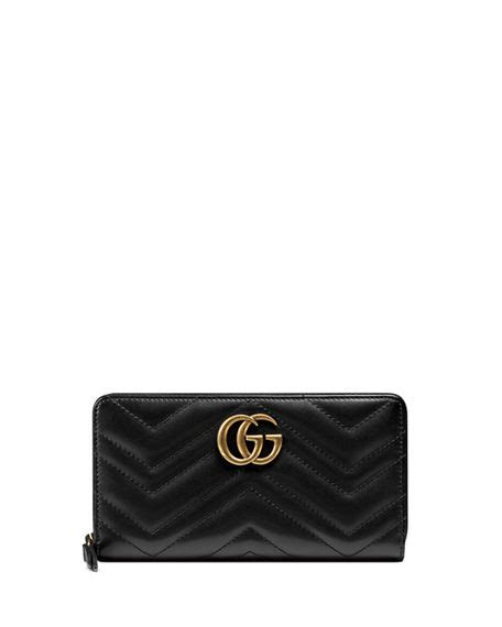 gucci gg marmont 2 0 leather zip around wallet black modesens