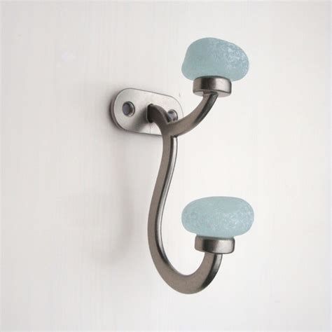 unique robe hooks recycled glass sea stone coat towel wall robe hook beach