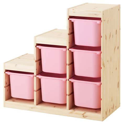 ikea storage trofast storage combination light white stained pine pink