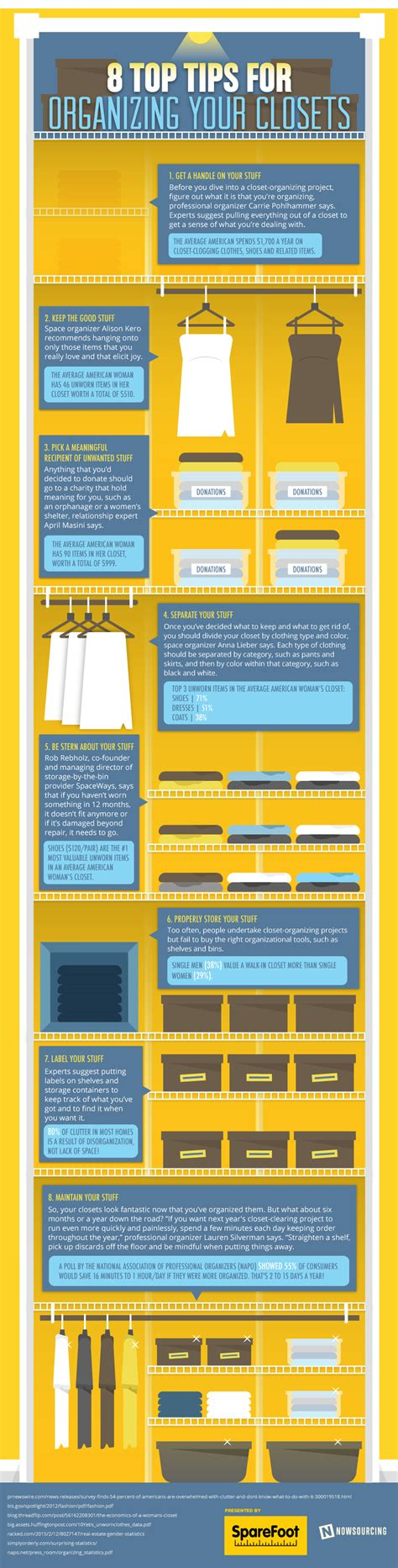 8 Tips For Reorganizing Your Closet by 8 Top Tips For Organizing Your Closet Infographic