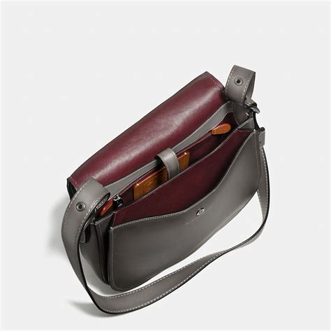 Coach Polgan Saddle Black Mahogany lyst coach saddle bag in burnished glovetanned leather in gray