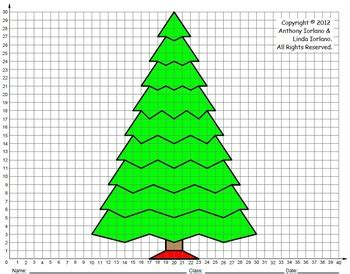 christmas cordation tree middle school coordinate drawing graphing mystery picture