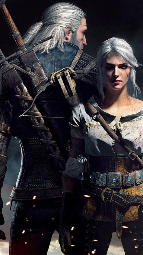 1080x1920 the witcher 3 hunt ciri geralt of rivia artwork wallpapers for